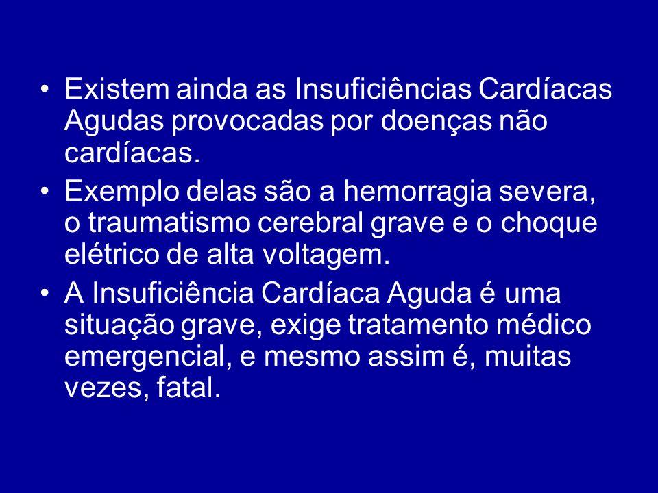Existem ainda as Insuficiências Cardíacas Agudas provocadas por doenças não cardíacas.