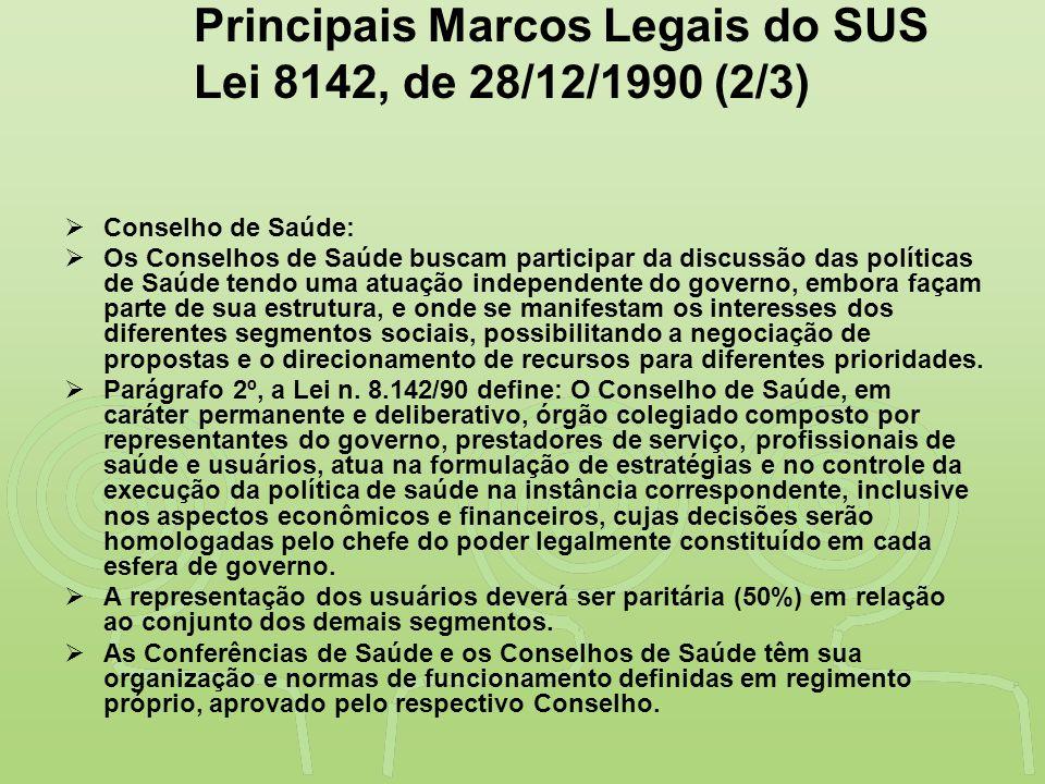 Principais Marcos Legais do SUS Lei 8142, de 28/12/1990 (2/3)