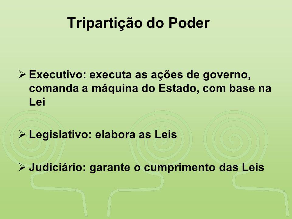 Tripartição do Poder Executivo: executa as ações de governo, comanda a máquina do Estado, com base na Lei.