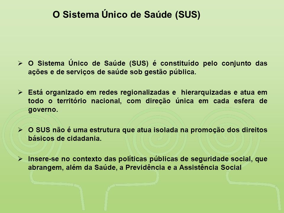 O Sistema Único de Saúde (SUS)
