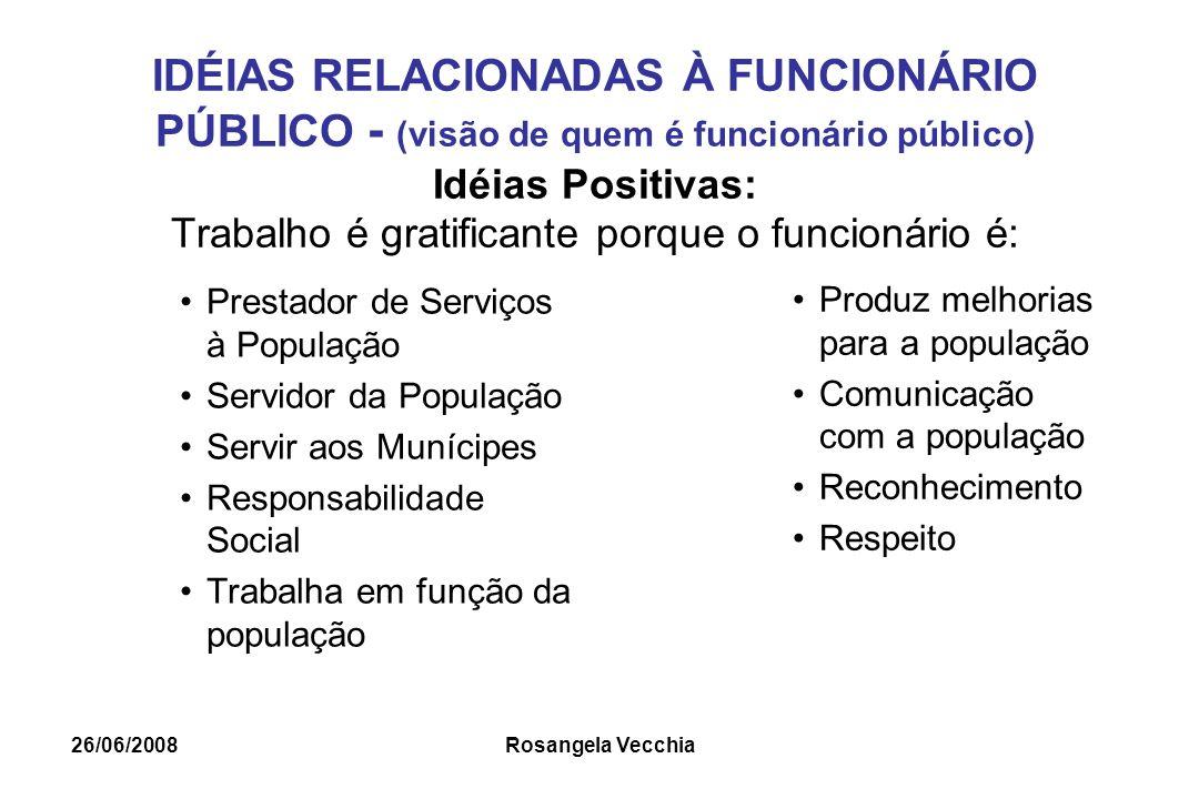 IDÉIAS RELACIONADAS À FUNCIONÁRIO PÚBLICO - (visão de quem é funcionário público) Idéias Positivas: Trabalho é gratificante porque o funcionário é: