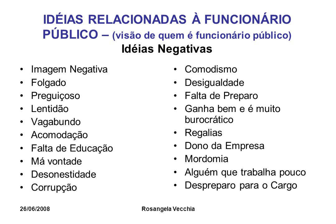 IDÉIAS RELACIONADAS À FUNCIONÁRIO PÚBLICO – (visão de quem é funcionário público) Idéias Negativas