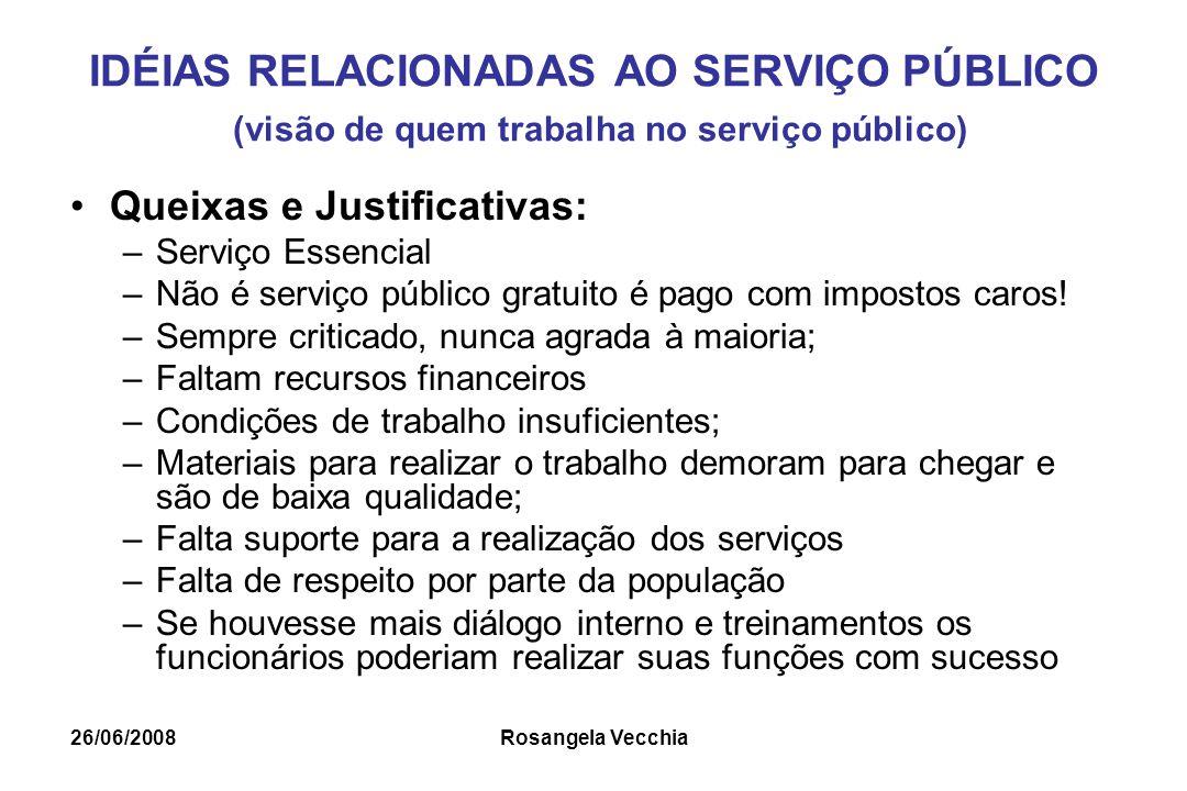 IDÉIAS RELACIONADAS AO SERVIÇO PÚBLICO (visão de quem trabalha no serviço público)