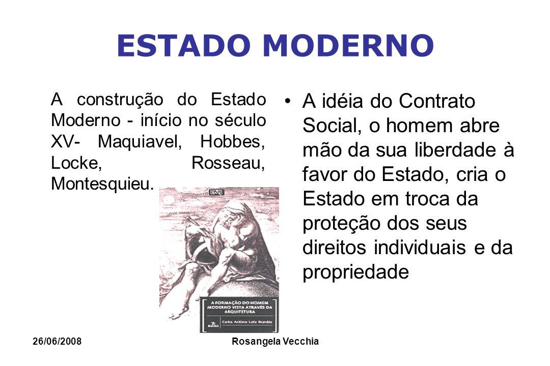 ESTADO MODERNO A construção do Estado Moderno - início no século XV- Maquiavel, Hobbes, Locke, Rosseau, Montesquieu.