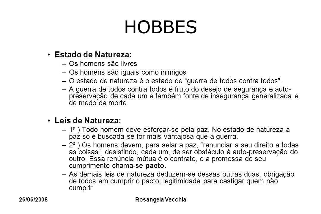 HOBBES Estado de Natureza: Leis de Natureza: Os homens são livres