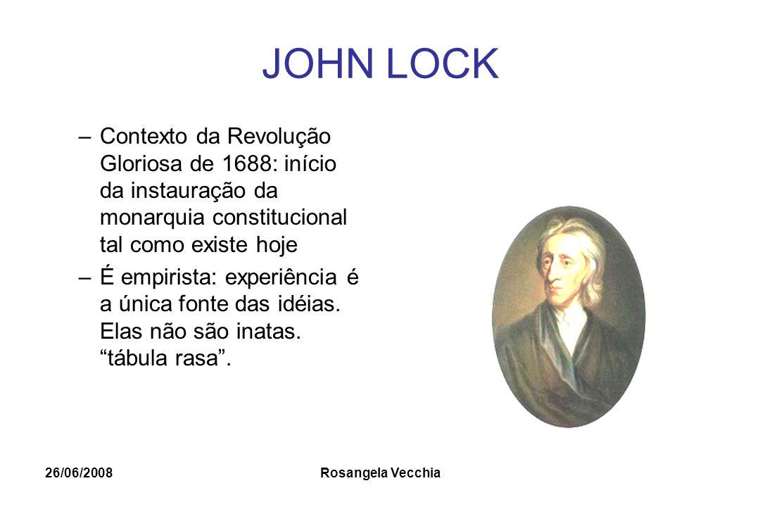 JOHN LOCK Contexto da Revolução Gloriosa de 1688: início da instauração da monarquia constitucional tal como existe hoje.