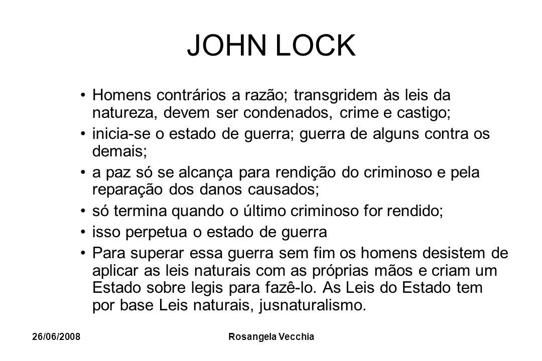 JOHN LOCK Homens contrários a razão; transgridem às leis da natureza, devem ser condenados, crime e castigo;