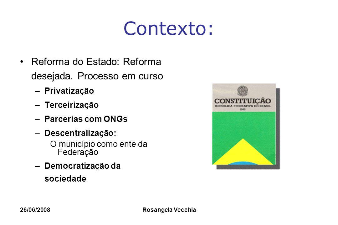 Contexto: Reforma do Estado: Reforma desejada. Processo em curso