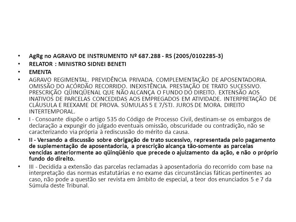 AgRg no AGRAVO DE INSTRUMENTO Nº 687.288 - RS (2005/0102285-3)