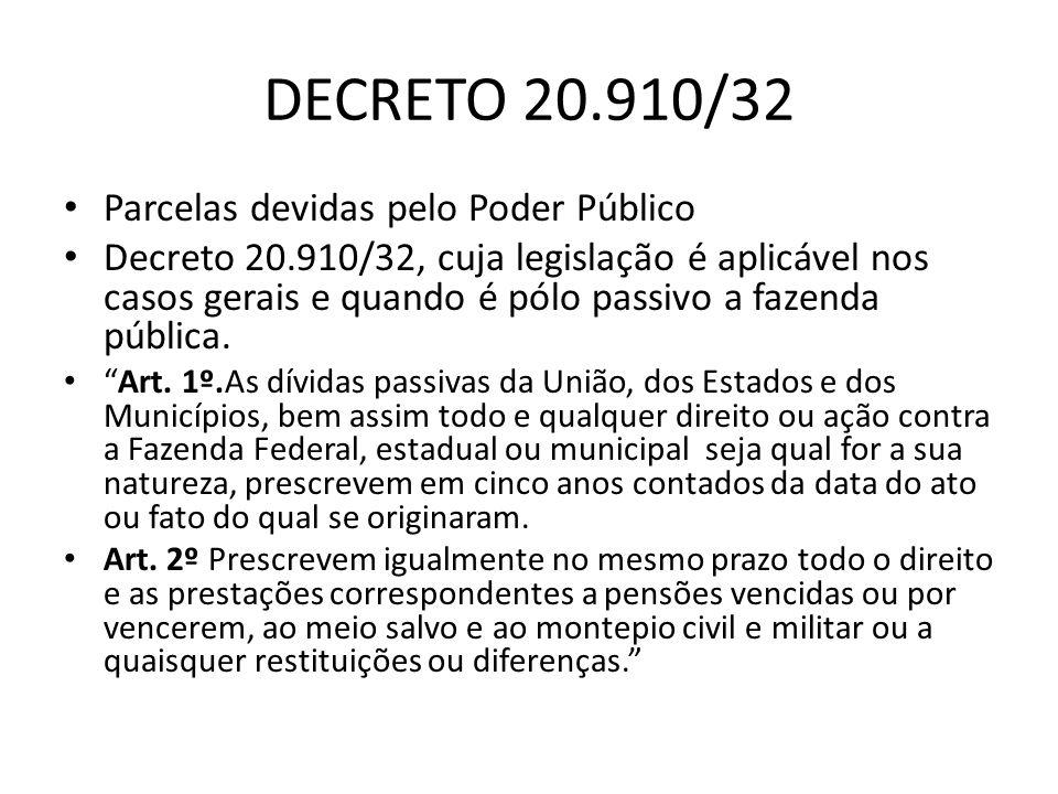 DECRETO 20.910/32 Parcelas devidas pelo Poder Público