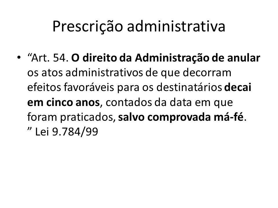 Prescrição administrativa