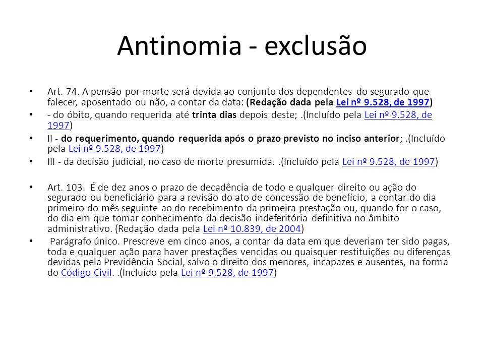 Antinomia - exclusão