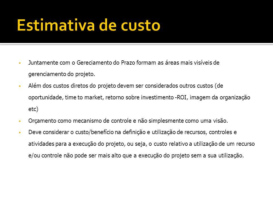Estimativa de custo Juntamente com o Gereciamento do Prazo formam as áreas mais visíveis de gerenciamento do projeto.