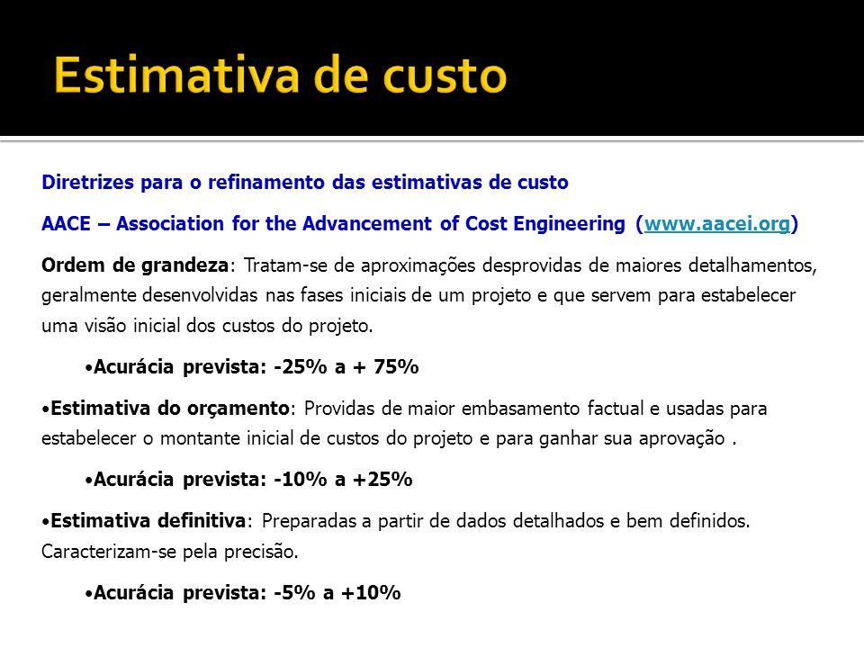 Estimativa de custo Diretrizes para o refinamento das estimativas de custo.
