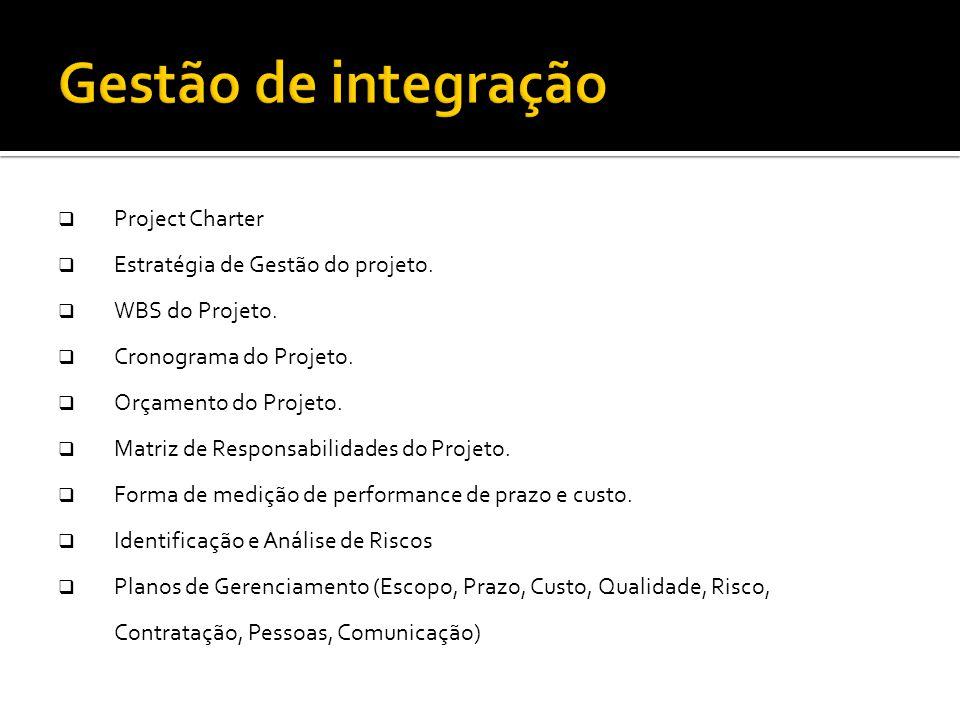 Gestão de integração Montar o Plano do Projeto Project Charter