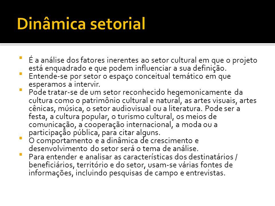 Dinâmica setorial É a análise dos fatores inerentes ao setor cultural em que o projeto está enquadrado e que podem influenciar a sua definição.