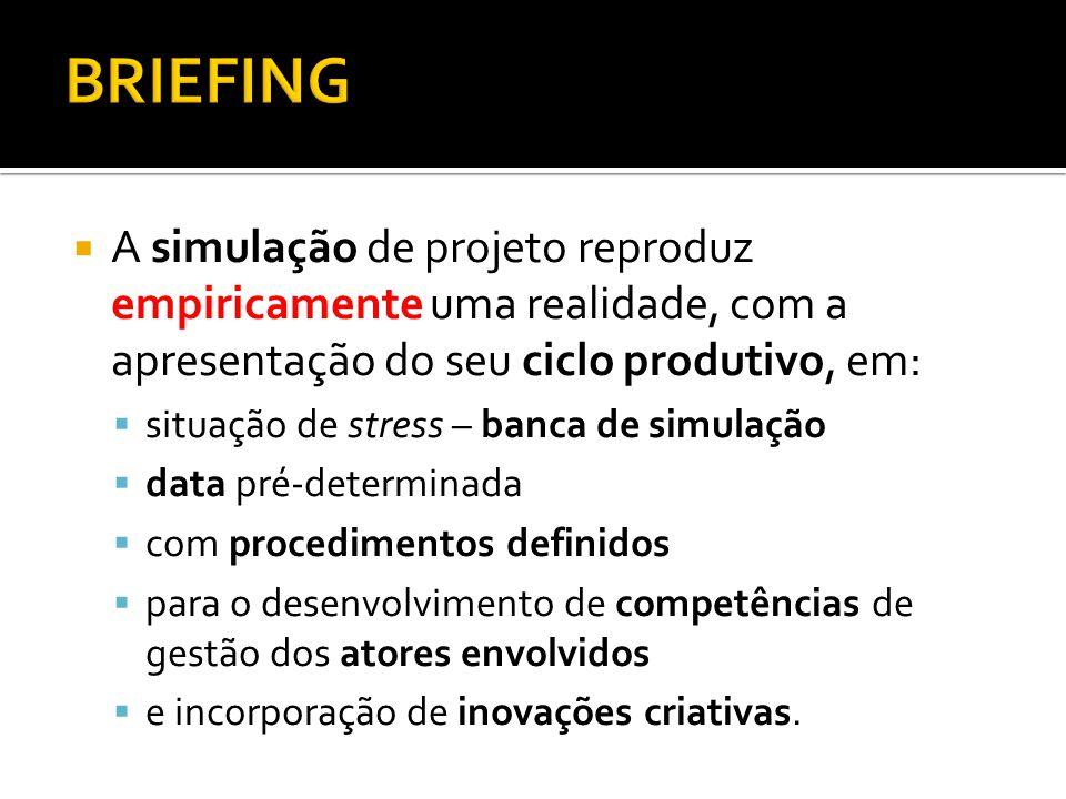 BRIEFING A simulação de projeto reproduz empiricamente uma realidade, com a apresentação do seu ciclo produtivo, em: