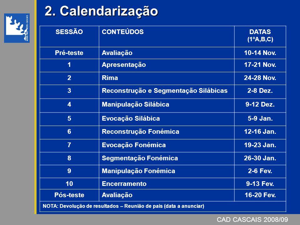 2. Calendarização SESSÃO CONTEÚDOS DATAS (1ºA,B,C) Pré-teste Avaliação