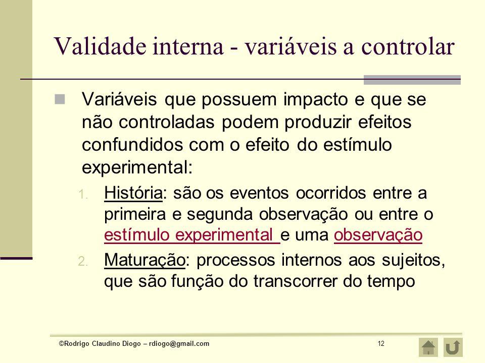 Validade interna - variáveis a controlar