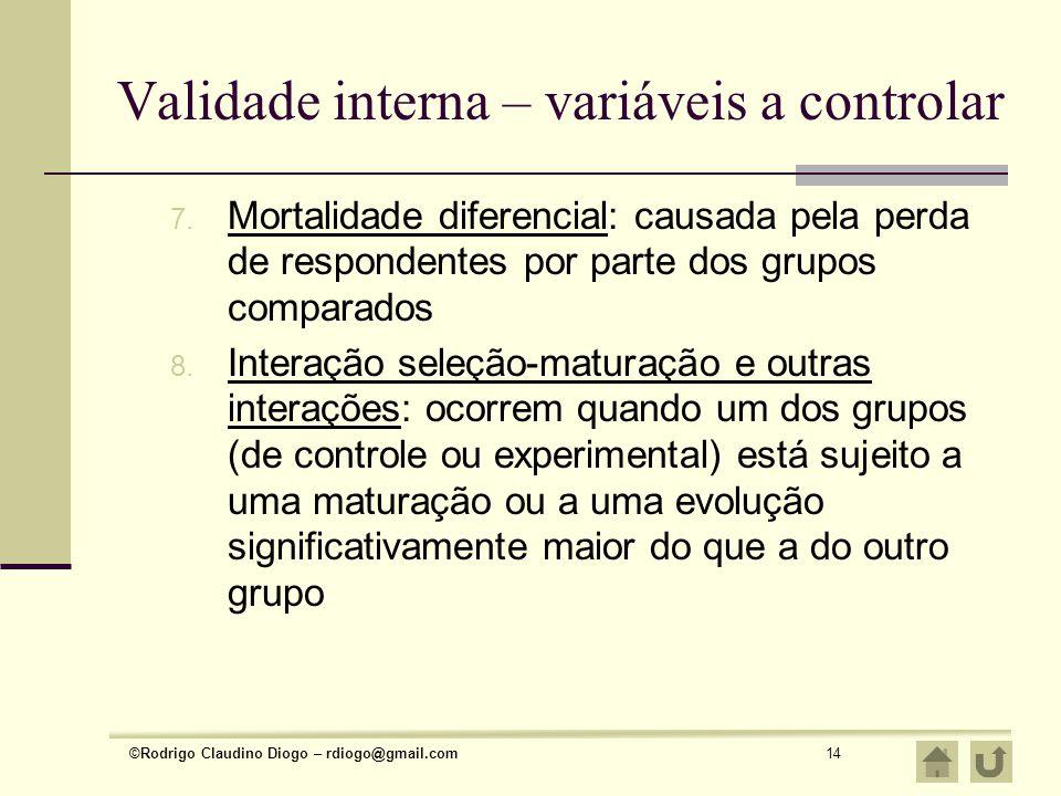 Validade interna – variáveis a controlar