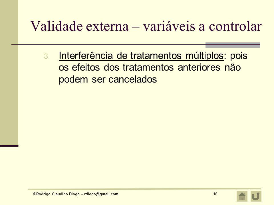 Validade externa – variáveis a controlar
