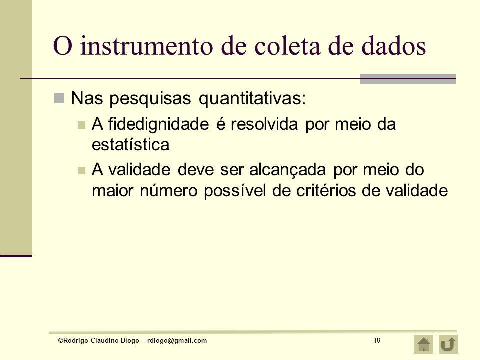 O instrumento de coleta de dados