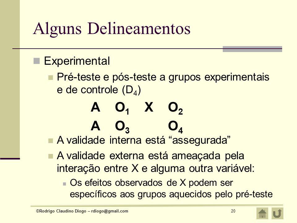 Alguns Delineamentos A O1 X O2 A O3 O4 Experimental