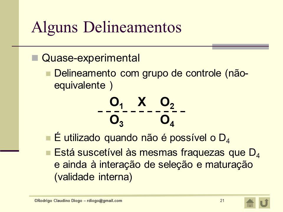 Alguns Delineamentos O1 X O2 O3 O4 Quase-experimental