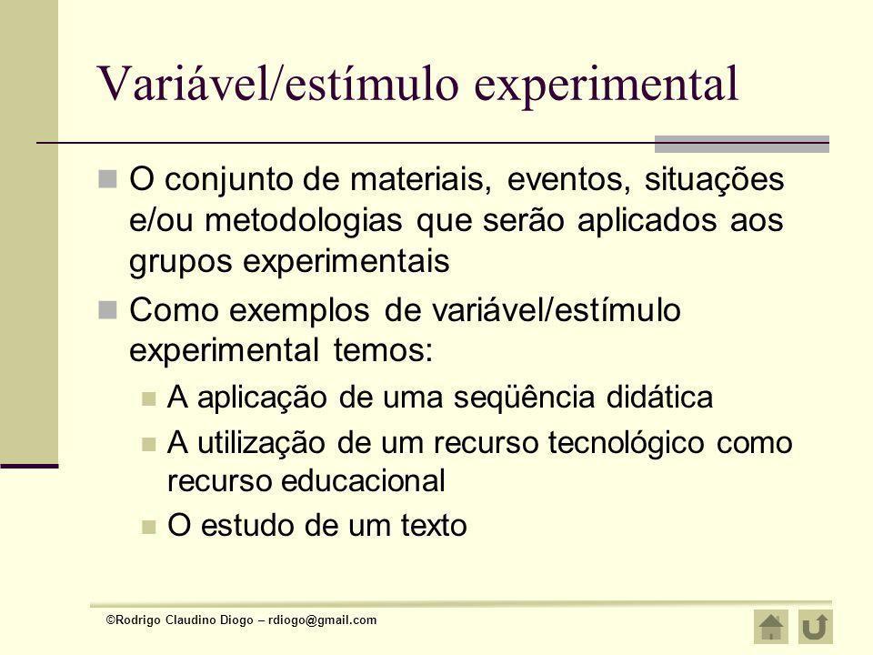 Variável/estímulo experimental