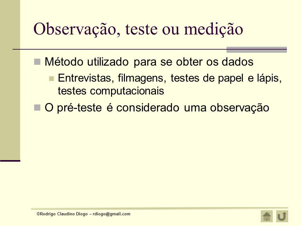 Observação, teste ou medição