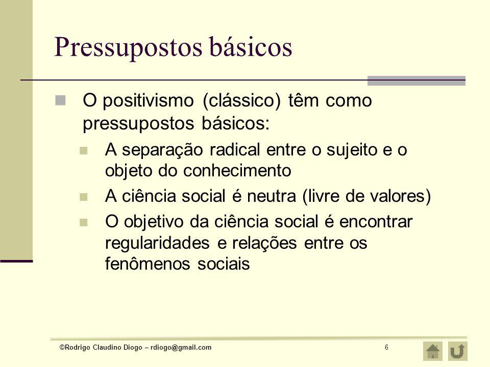 Pressupostos básicos O positivismo (clássico) têm como pressupostos básicos: A separação radical entre o sujeito e o objeto do conhecimento.