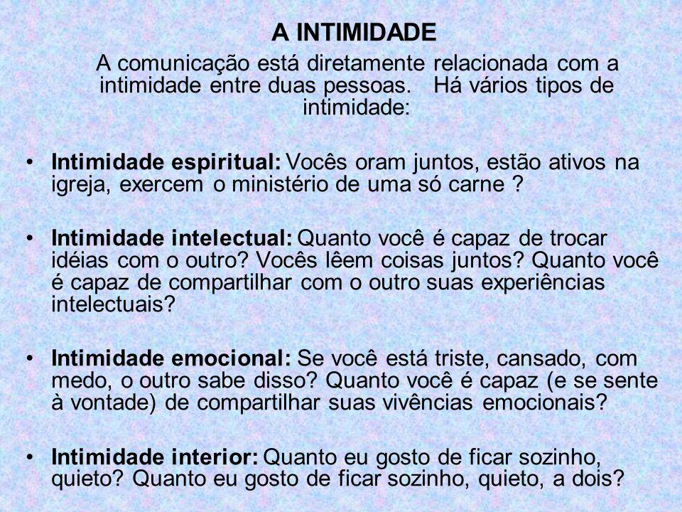 A INTIMIDADE A comunicação está diretamente relacionada com a intimidade entre duas pessoas. Há vários tipos de intimidade: