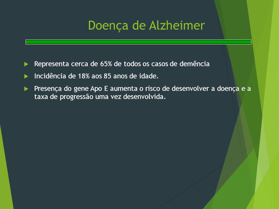 Doença de Alzheimer Representa cerca de 65% de todos os casos de demência. Incidência de 18% aos 85 anos de idade.