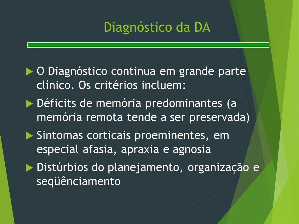 Diagnóstico da DA O Diagnóstico continua em grande parte clínico. Os critérios incluem: