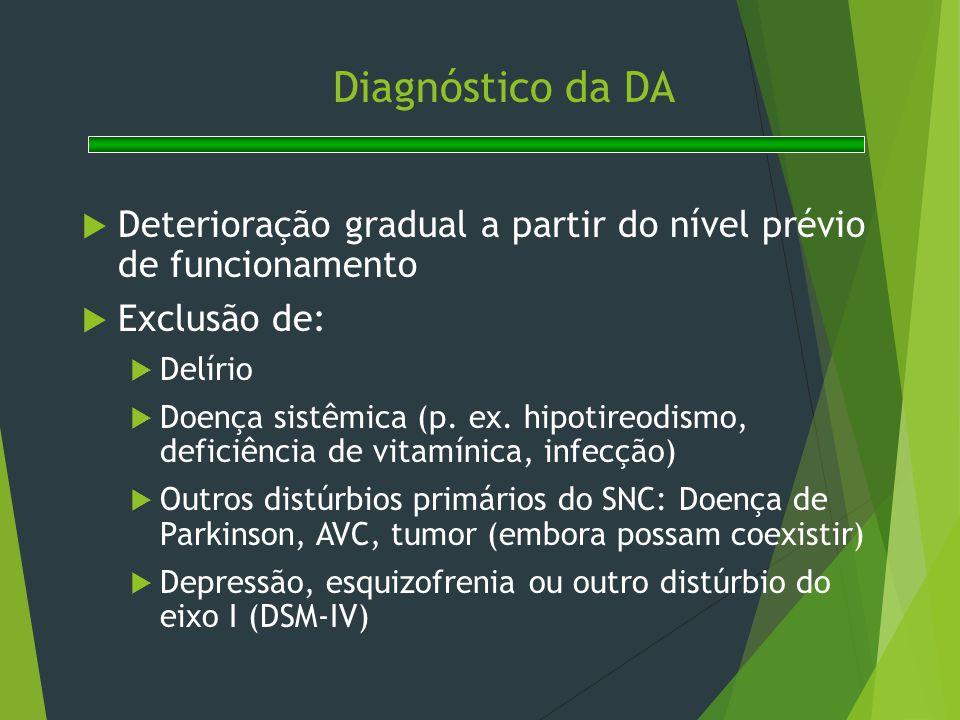 Diagnóstico da DA Deterioração gradual a partir do nível prévio de funcionamento. Exclusão de: Delírio.