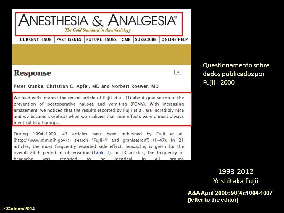 Questionamento sobre dados publicados por Fujii - 2000
