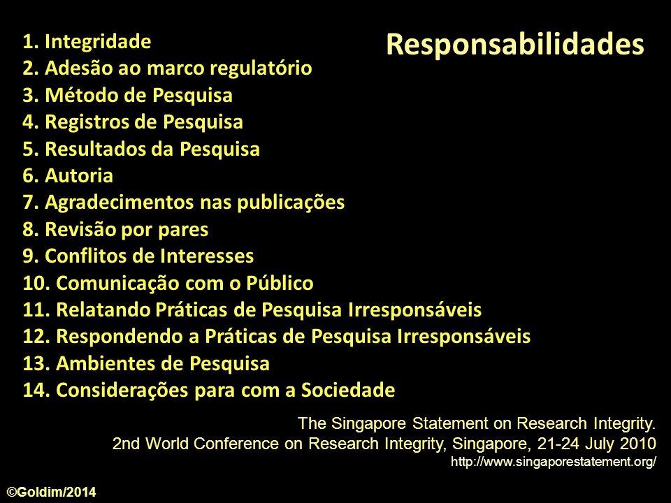 Responsabilidades 1. Integridade 2. Adesão ao marco regulatório