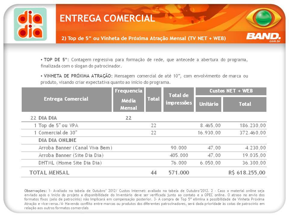 ENTREGA COMERCIAL 2) Top de 5 ou Vinheta de Próxima Atração Mensal (TV NET + WEB)