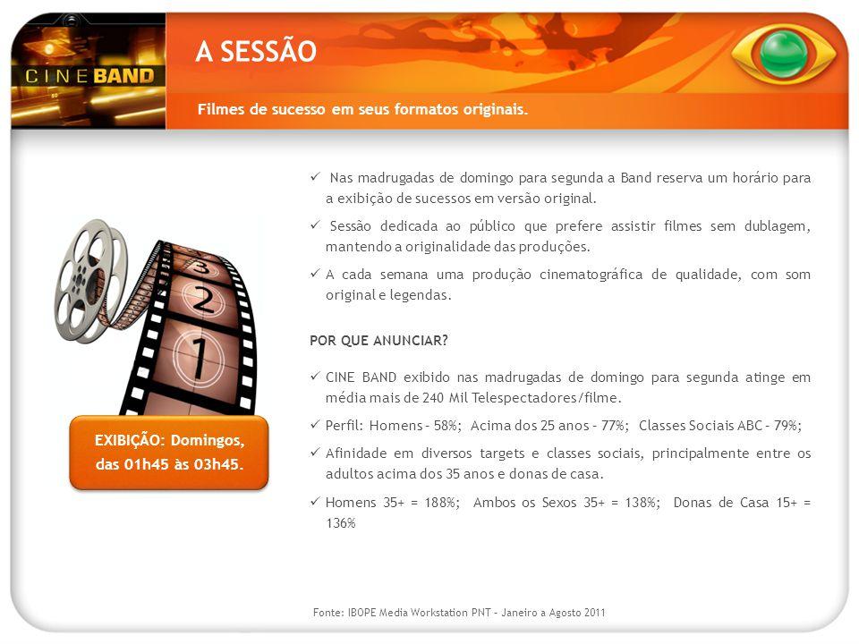 A SESSÃO Filmes de sucesso em seus formatos originais.