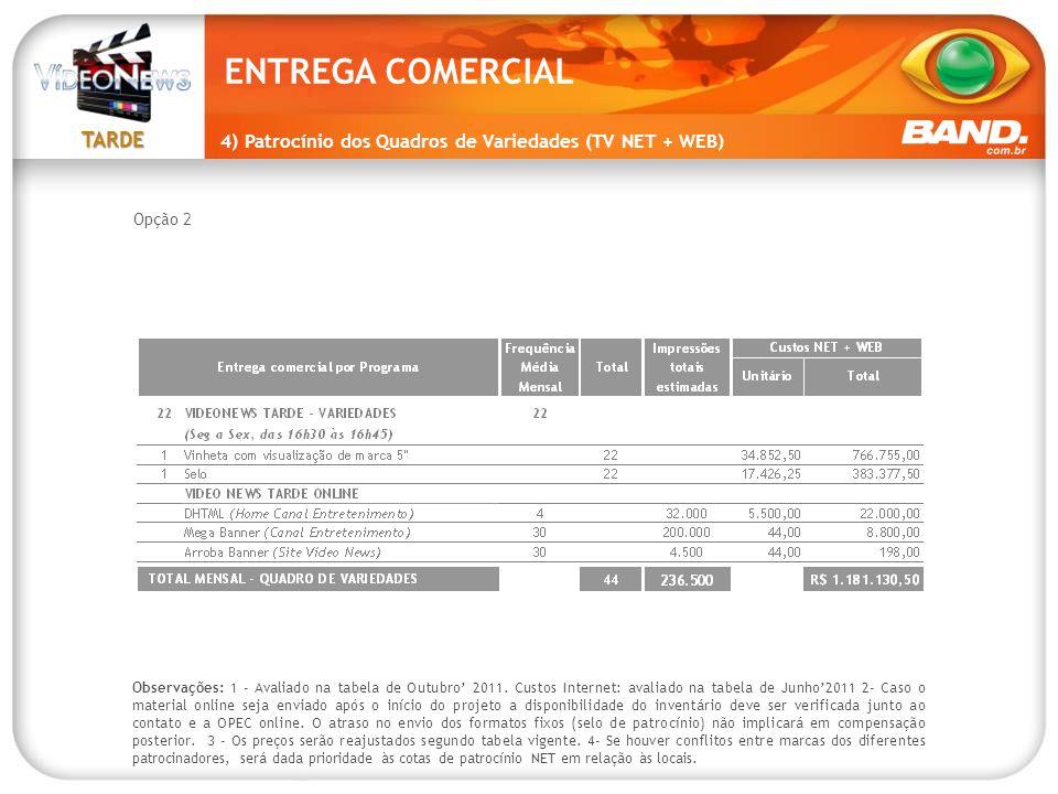 ENTREGA COMERCIAL 4) Patrocínio dos Quadros de Variedades (TV NET + WEB) Opção 2.