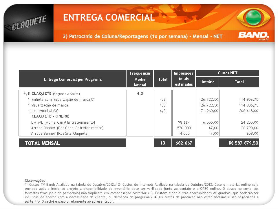ENTREGA COMERCIAL 3) Patrocínio de Coluna/Reportagens (1x por semana) - Mensal - NET. Observações.