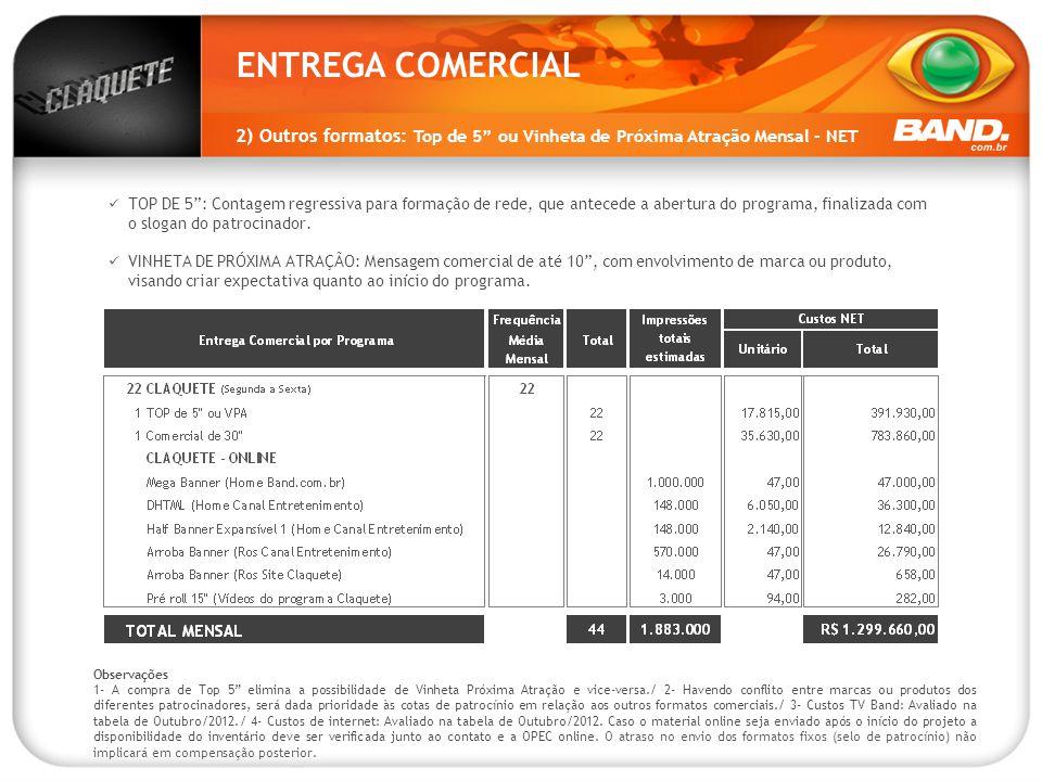 ENTREGA COMERCIAL 2) Outros formatos: Top de 5 ou Vinheta de Próxima Atração Mensal - NET.