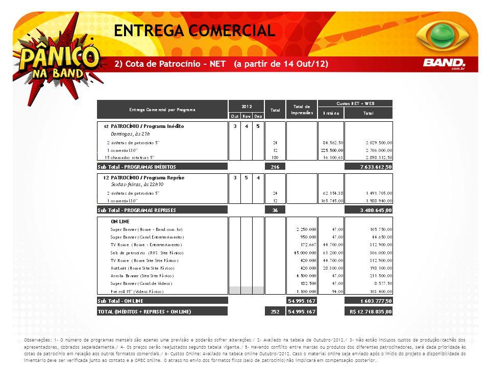 ENTREGA COMERCIAL 2) Cota de Patrocínio – NET (a partir de 14 Out/12)