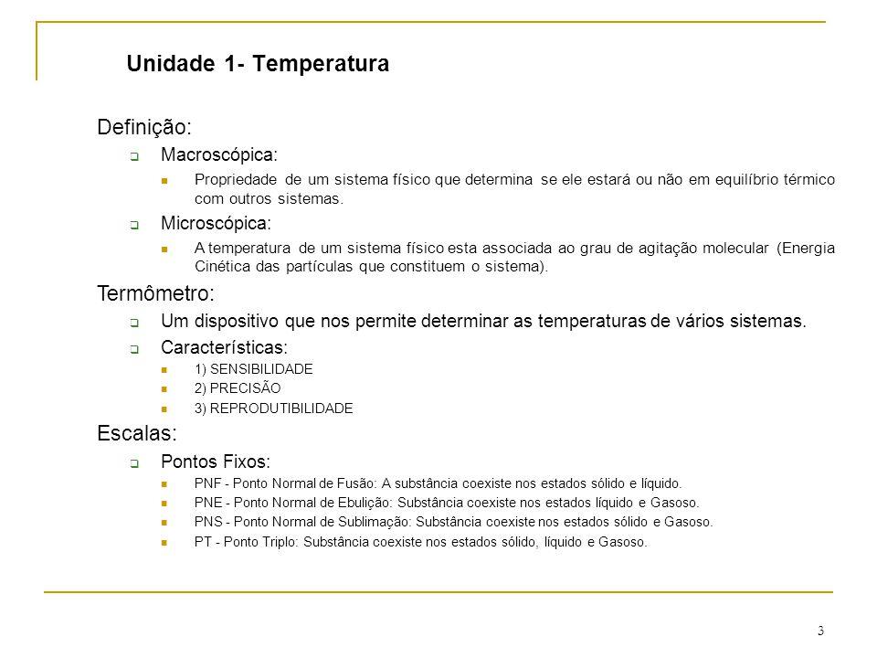 Unidade 1- Temperatura Definição: Termômetro: Escalas: Macroscópica: