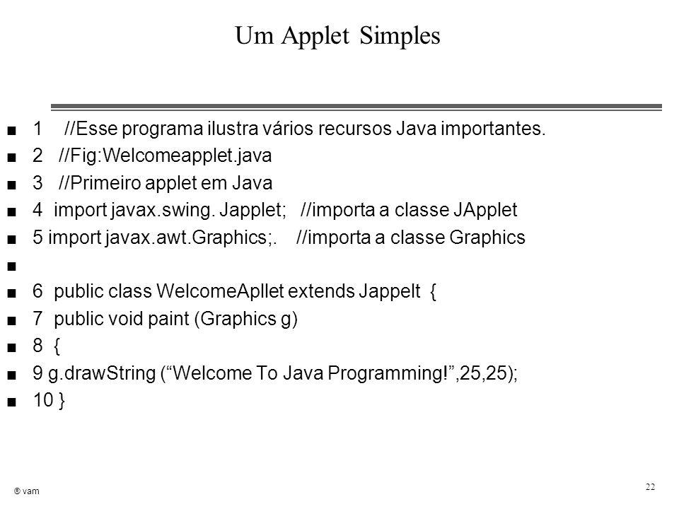 Um Applet Simples 1 //Esse programa ilustra vários recursos Java importantes. 2 //Fig:Welcomeapplet.java.