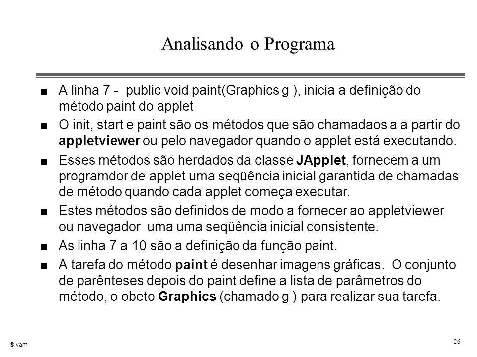 Analisando o Programa A linha 7 - public void paint(Graphics g ), inicia a definição do método paint do applet.