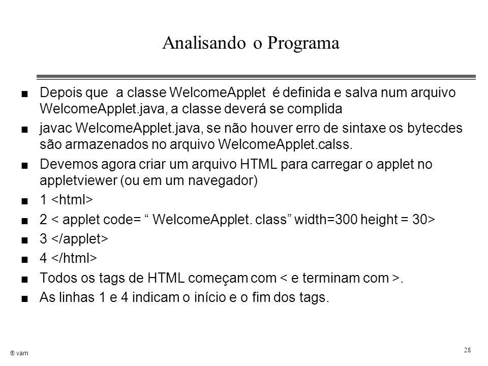 Analisando o Programa Depois que a classe WelcomeApplet é definida e salva num arquivo WelcomeApplet.java, a classe deverá se complida.