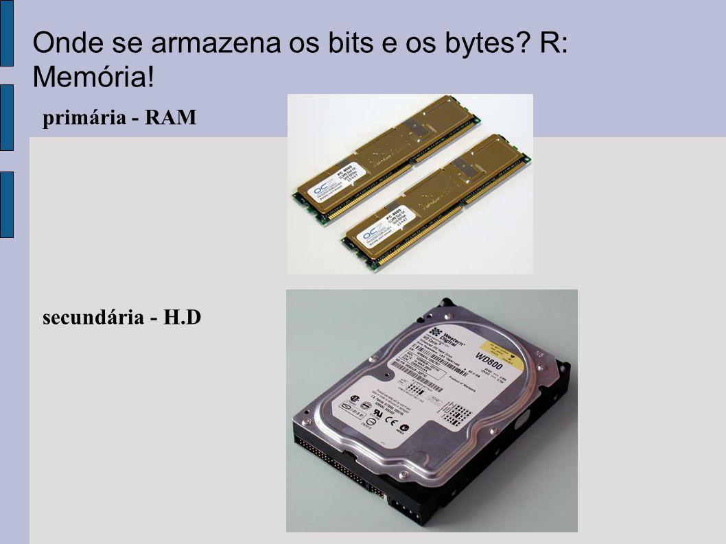 Onde se armazena os bits e os bytes R: Memória!