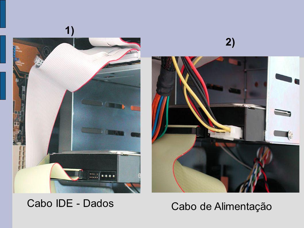 1) 2) Cabo IDE - Dados Cabo de Alimentação