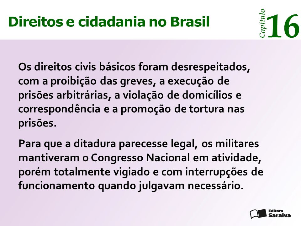 16 14 Direitos e cidadania Direitos e cidadania no Brasil